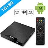 Android TV Box - Android 7.1 Smart TV Box CPU Amlogic S905W Quad-Core, 1 Go RAM & 8 Go ROM, 4K UHD , USB, HDMI, WiFi Lecteur Multimédia