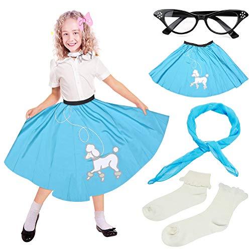 Beelittle 4 Stück 50er Jahre Mädchen Kostüm Zubehör Set - Vintage Pudel Rock, Chiffon Schal, Cat Eye Brille, Bobby Socken (I-Blue)