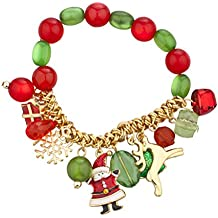 Lux Accessories Gold Tone Christmas X-Mas Holiday Festive Beaded Charm Bracelet