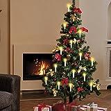 LED Weihnachts-Baum-Beleuchtung Kerzenzauber Deluxe kabellos mit Timer 15er-Set Fernbedienung Christbaum-Beleuchtung (Cremefarben)