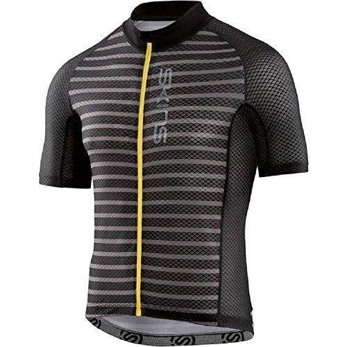 SKINS Cycle Lovecat X-Light Mens S/S Jersey Full Zip Pewter Stripe/Black M