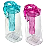 Oxid7 Kunststoff-Karaffe mit Frucht-Einsatz | BPA-Frei | Türkis | 2 Liter Wasserkaraffe | Teekanne aus Tritan