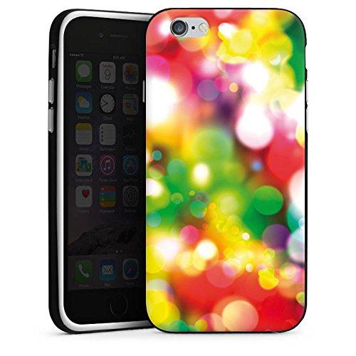 Apple iPhone 4 Housse Étui Silicone Coque Protection Lumières Points Motif Housse en silicone noir / blanc
