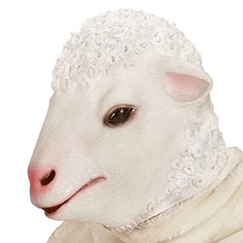 Für Erwachsene Schaf Kostüm - Amakando Schafsmaske Lamm Tiermaske Ziege Schaf Kostüm Accessoire Ziegenmaske Erwachsene Schafkostüm Zubehör Latex Schaf Maske