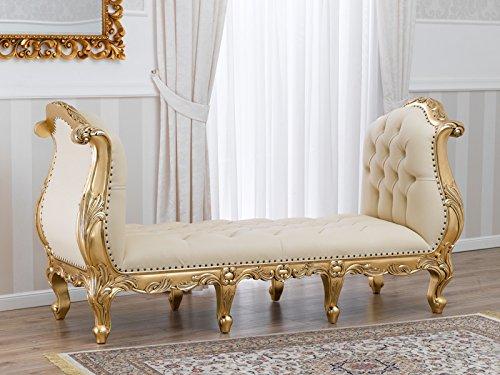 Simone Guarracino Sitzbank imperialen Rokoko-Stil Blattgold mit Champagner Kunstleder Swarovski...