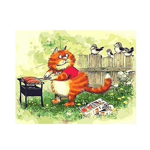 Yyboo DIY Malen Nach Zahlen Digitale Leinwand Ölgemälde Geschenk Erwachsene Kinder Kits Home Decorators - BBQ Cat (Holzrahmen) -