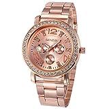 Geneva Platinum Analog Rose Gold Dial Women's Watch-GP-381