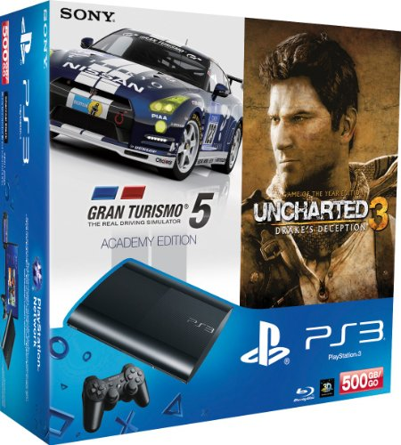 PlayStation 3 - Konsole Super Slim 500 GB (inkl. DualShock 3 Wireless Controller + Uncharted 3 GOTY + Gran Turismo 5 - Academy Edition)