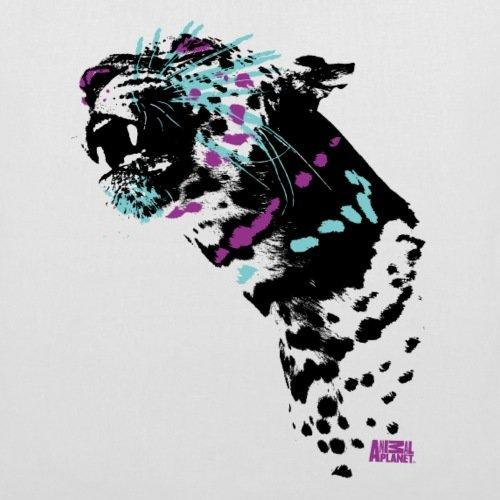 Spreadshirt Animal Planet Bunter Leopard Raubkatze Stoffbeutel Weiß
