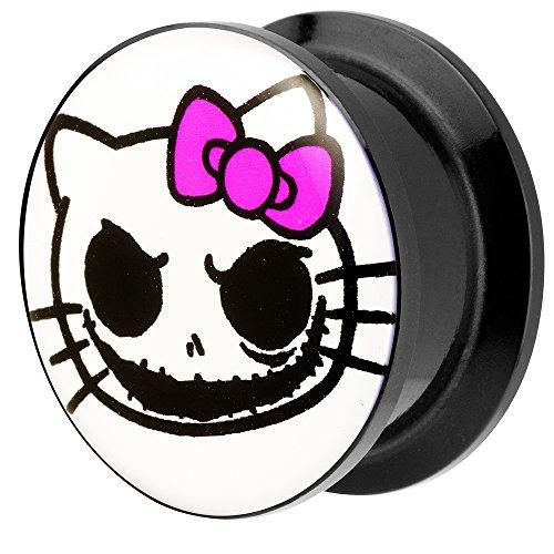 Piersando® Ohr Plug Piercing Kunststoff Motiv Comic Picture Flesh Tunnel Ohrplug mit Death Horror Kitty Katze Schwarz Weiß Pink 6mm (Hello Kitty Schwarze Katze)