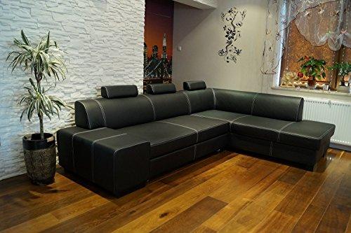 """Echtleder Ecksofa \""""LONDON II 3z\"""" 275 x 200 Sofa Couch mit Bettfunktion , Bettkasten und Kopfstützen Schwarz Echt Leder mit Ziernaht Eck Couch große Farbauswahl"""