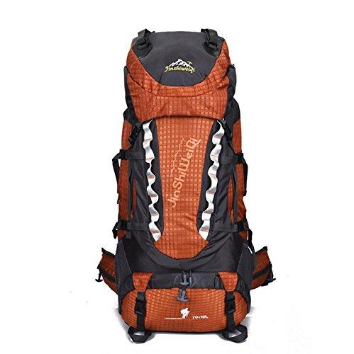 LQABW Impermeabile Grande Capacità D'escursione Esterni Di Viaggio Panno Alpinismo Zaino Borsa Da Viaggio In Nylon Oxford Durevole Outdoor Zaino 80L,Green Orange