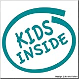 cartattoo4you AK-02230 | Kids Inside | K-Serie | Autoaufkleber Aufkleber Car Sticker Kleber Kind Kinder Farbe Petrol, in 23 Farben erhältlich, glänzend 11 x 10 cm Waschstrassenfest Versandkostenfrei