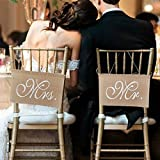 LinTimes Stuhl Banner Set Hochzeit Dekoration 1 Set von 2 Jute Bögen Mr. & Mrs Jute Stuhl Schild Girlande Rustikal Party Dekoration