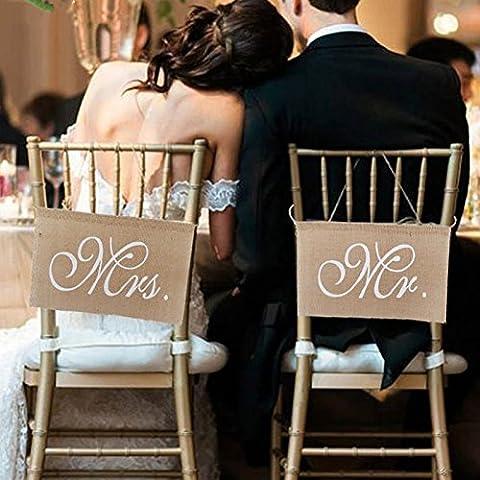 Lugii Cube nœuds en toile de jute Mr & Mrs Chaise en toile de jute Banderole de chaise Pancarte Guirlande rustique Décoration de fête de mariage (1lot de)