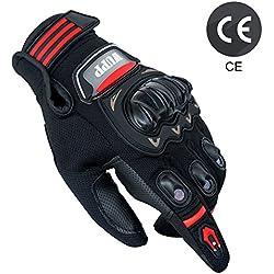 Gants Moto Eté Homologué CE, Gants Homme Femme Plein-Doigt Respirable avec Ecran Tactile pour Téléphone GPS, Protection Pour Moto Motocross Scooter Vélo (1 paire:XL)
