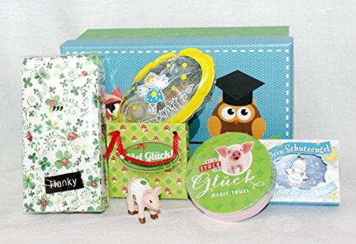 110008 Geschenk Box Set Viel Glück, Geschenke in Box verpackt, Glücksschwein, Schutzengel Anhänger, Badegel, Taschentücher, magisches Handtuch als Geschenk verpackt (Taschentuch-geschenk-box)