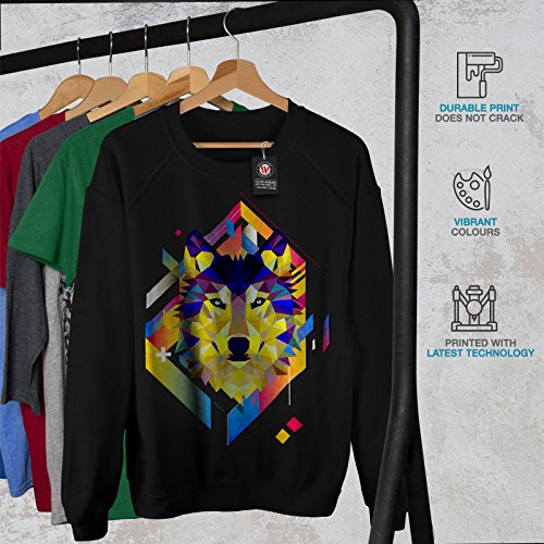 Coloré Loup Forme Femme S-2XL Sweat-shirt | Wellcoda Noir