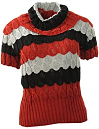 Frauen Blase Knit Plain Gold Striped Loser Rollkragen Pullover Damen