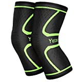 Yosoo Knee Sleeves 1 Paar, Athletic Kompression Kniebandage für Laufen, Joggen, Wandern, Basketball, Knieverletzung Schmerzen Arthritis Erleichterung, Männer & Frauen Geschenk (Größe L)