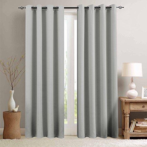 TOPICK Grau blickdichte Verdunkelungsvorhänge Lange Schalafzimmer, Vorhänge mit Ösen,225cm x 130 cm (H x B), Energiespar & Wärmeisolierend 2 Stücke