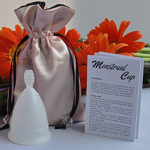 Menstruationstasse mit Menstruationstasse-Tasche (weiß, groß)