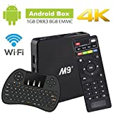 Android TV Box M9 Amlogic S905X Cortex A53 64Bit Wifi 4K UHD H.265 Smart TV Box Quad Core 8GB 1GB, With Mini Wireless Keyboard, Play Games Movies without Freezing and Buffering