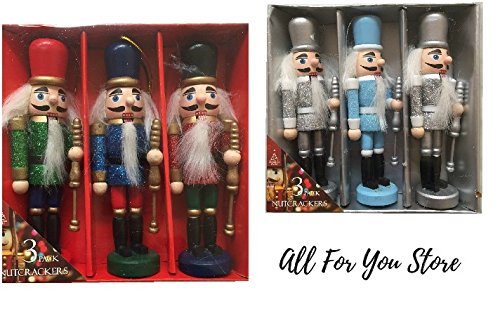 Alle für Sie 3x Weihnachten Nussknacker Xmas Tree Ornaments hängende Dekoration festliches Figuren Scene Setter Geschenk Set Pack 13cm