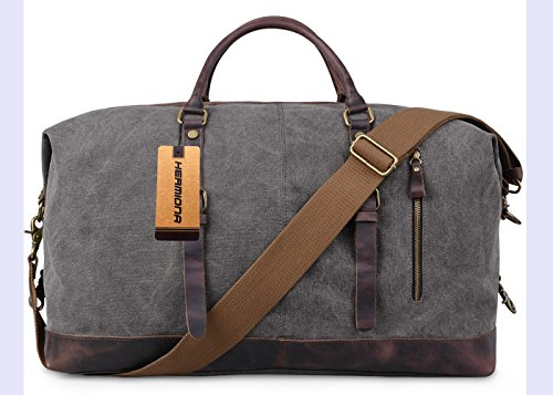 Oversized Travel Tote (Hermiona Canvas Leather Travel Tote Duffel Shoulder Bag Handbag)