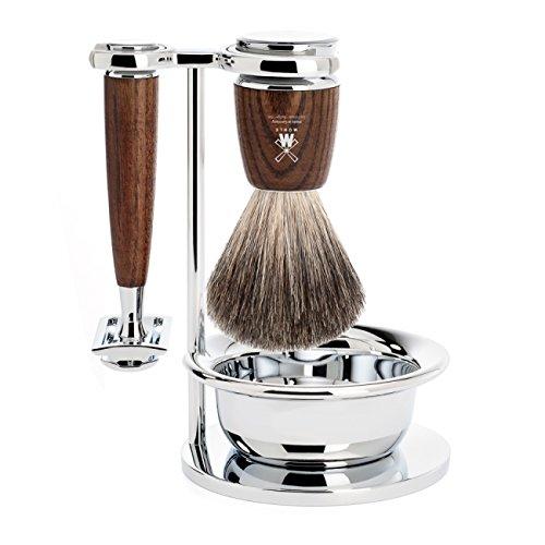 뮐레 클래식 면도기 세트 MÜHLE - 4-Pcs. Shaving Set Pure Badger Hair / Safety Razor - RYTMO Series - Handles Dark Ash Wood