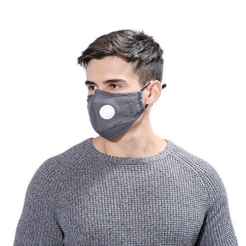 Inovey Maske Atem Atemventil Pm2.5 Haze Schutzmasken Staubschutz Baumwolle Winter Warm Masken-Grau