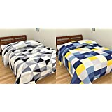 Handicraftworld Premium Quality Grey Black White Check & Blue Yellow Check Prints Reversible Single Bed AC Blanket \ Dohar Combo Set Of 2 Pc