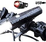 BYBO USB LED Fahrradbeleuchtung,1000 Lumens Fahrradlicht LED Wiederaufladbares Fahrradlampen Set und Rücklicht für Berg-Radfahren,Radfahren Camping Outdoor Sport Jagen Wandern