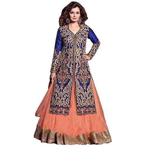 Aryan Fashion Store Women\'s Georgette Dress Material Dress Material (Fbvr-106_Orange_Free Size)