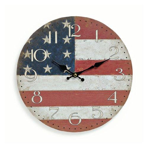 levandeo Wanduhr aus Holz 29cm - Motiv: Amerika USA Flagge Fahne Stars and Stripes - Küchenuhr Uhr - Quartzuhr
