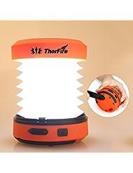 ThorFire LED Camping Lampe Dynamo/USB-Kabel wiederaufladbare Camping Laterne Zusammenfaltbare Zeltlampe 2 Beleuchtungsstufen eignet für Camping, Wandern, Angeln, Joggen