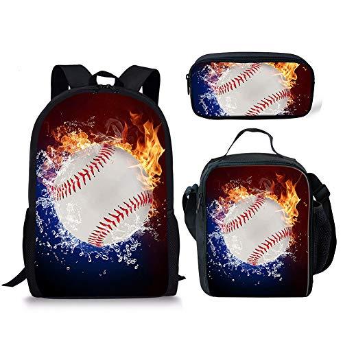 POLERO Baseball Printed Rucksack mit Federmäppchen & Schulranzen, Game Fans Geschenke, Studenten Bookbag Laptop-Rucksack-Spielraum-Computer-Beutel für Jungen, Mädchen, Kinder Teens (Feuer und Wasser)