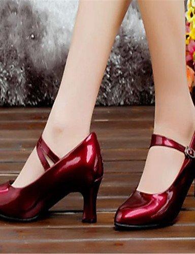 ShangYi Chaussures de danse (Noir/Violet/Argent) - Non personnalisable - Gros talon - Similicuir - Moderne Silver