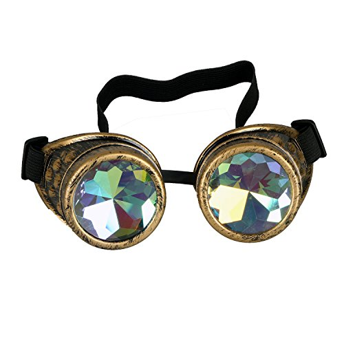 AFUT Kaleidoscope Rave Rainbow Vintage Steampunk Goggles Multicolor Lens Copper Brass Welding Glasses steampunk buy now online