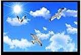Malilove 3D Fototapete Custom 3D Wandbild Tapete Wand Decke Blauer Himmel Weisse Wolken Möwen Dach Decke Wand Im Hintergrund Home Decor200X140Cm