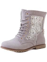 GEF?TTERT Sneaker Damenschuhe Schn��r Boots Stiefeletten Luxus Keliabsatz Glitzer NTLWa4oOxM