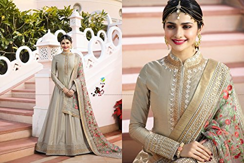 fc33ba4698 28% OFF on Aadhya Creation Women's Silk Embroidered Unstitched Salwar Suit  Dress Material(VR7174_Grey_Free Size) on Amazon   PaisaWapas.com