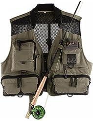 YHKQS-KQS Chaleco de la pesca con los bolsillos de múltiples funciones al aire libre ligero rápido estupendo de la mosca de la mosca que arropa la chaqueta 52 * 112-132 cm