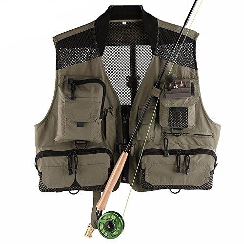 YHKQS-KQS Angeln Weste mit Multifunktions-Taschen Outdoor Super Light Quick Trocken Fliegen Fischen Jacke 52 * 112-132 cm