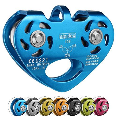 ALPIDEX Seilrolle Tandem Pulley Power 2.0 Tandemrolle Umlenkrolle, Farbe:blau