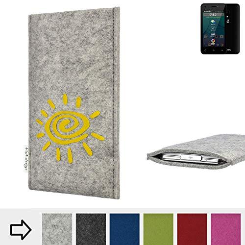 flat.design für Allview P42 Handy Schutzhülle FARO mit Sonne - Schutz Case Made in Germany in hellgrau gelb handgefertigte Smartphone-Tasche Etui aus Filz für Allview P42