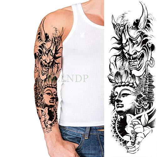 Yyoutop impermeabile autoadesivo del tatuaggio temporaneo lupo angolo ala croce braccio pieno falso tatto flash tatuaggi manica tatoo per uomini donne 3 pz
