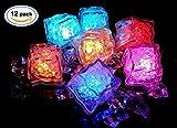 12 Pcs [Flashing Submersible LED Lights] Multi-Color Liquid Sensor Ice Cubes Light LED Glow Light Drinking Wine Wedding Party Decoration (Multi-Color Flash)