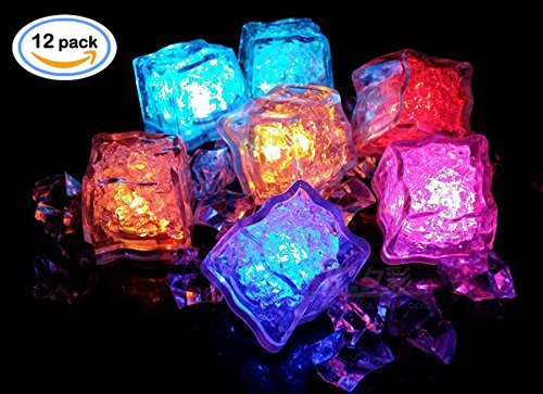 mersible LED Lights] Multi-Color Liquid Sensor Ice Cubes Light LED Glow Light Drinking Wine Wedding Party Decoration (Multi-Color Flash) (Glow Cube)