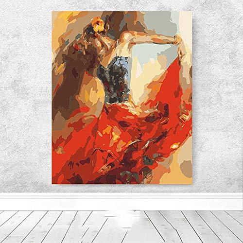 WSNDGWS Handgezeichnete Frau In Hut Verziert Ölgemälde Wohnzimmer Schlafzimmer Galerie Dekorative Malerei Abstrakte Malerei D6 60x90 cm